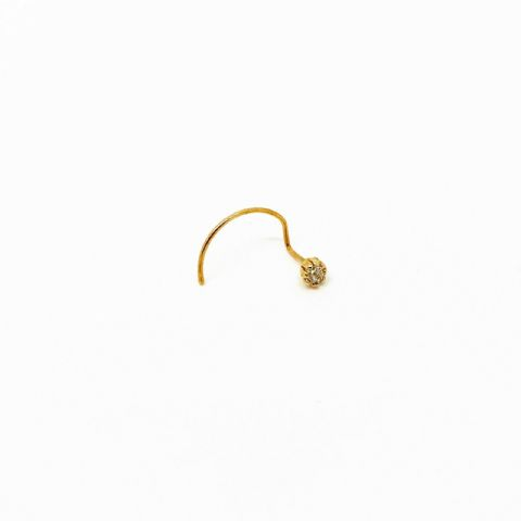 Genuine 9 Carat Gold Nose Stud With 2mm White Cubic Zirconia